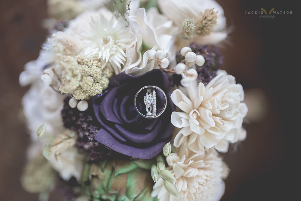 wedding rings bouquet detail shot
