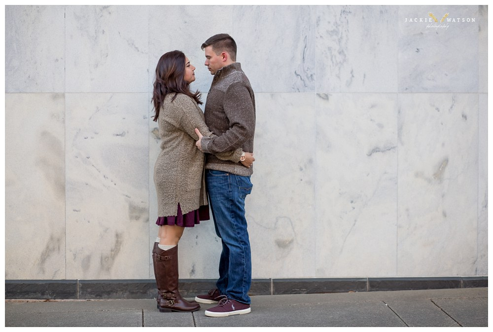 downtown norfolk marble wall engagement