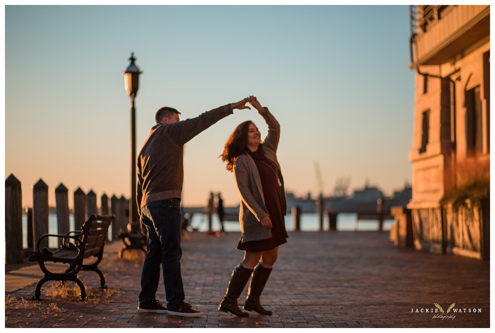 Downtown Norfolk Dancing Engagement Twirl