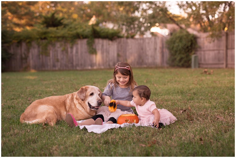children portraits with dog